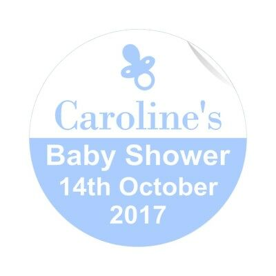 24 Personalised Baby Shower Stickers Labels Boys Blue Dummy Theme Quality Gloss