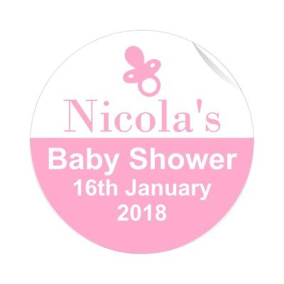 24 Personalised Pink Baby Shower Stickers Favours Labels Ready Suitable for Girl