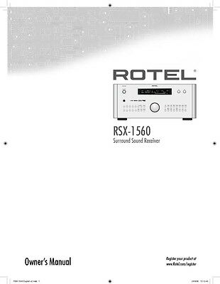 Rotel RSX-1560 Surround Receiver Owners Manual