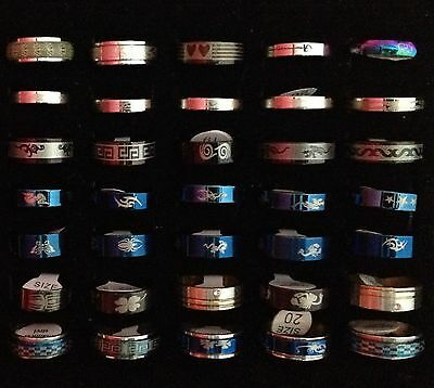 35pcs Stainless Steel Rings Mixed Sizes Ring 35x Solid Rings Black Blue Gold A01