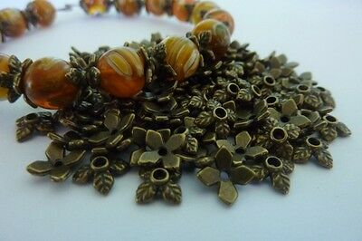 120 pce Petite Antique Bronze Leaf Bead Cap 8mm Jewellery Making Craft