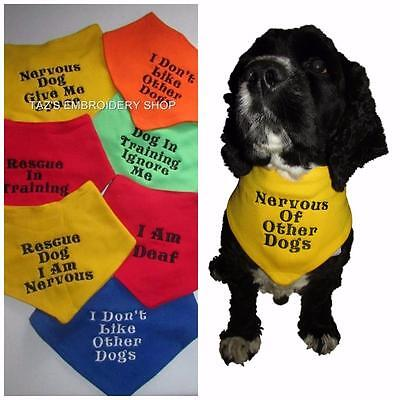Personalised Dog Bandana Warning Message Temperament Diet Embroidered Quality