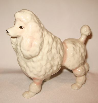 "Vintage Japan Porcelain Dog Poodle Figurine  5.5"" Tall x 6"" Length"