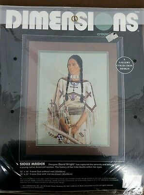 1993 Dimensions Crewel Embroidery Kit Sioux Maiden Native American Woman New