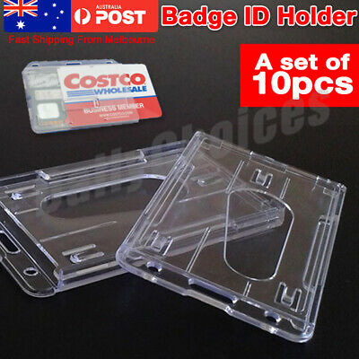 10 Clear Plastic ID Card Holder Lanyard Business Badge Security Pass Double Side