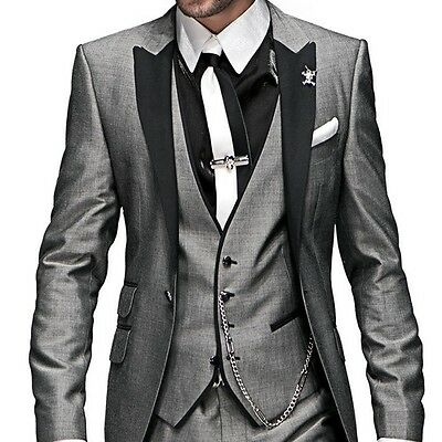 Handsome Wedding Suits for Men Two Buttons Groom Suit Groomsmen Business Tuxedo