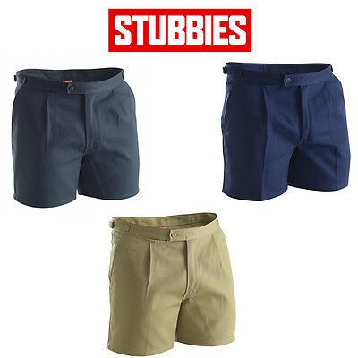 Mens Stubbies Single Pleat Cotton Drill Shorts Reinforced Workwear Safety BB5513