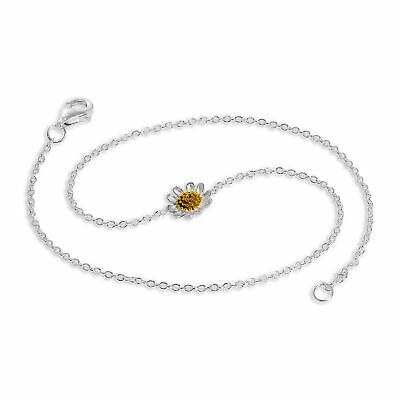 Sterling Silver Daisy Charm Anklet Adult Ankle Body Jewellery Summer