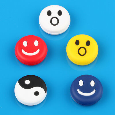Smile Face Tennis Racquet Vibration Dampener Shock Absorber Silicone Rubber 5PCS