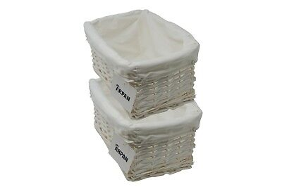 2 x 100% Eco-Friendly White Wicker storage Basket  - Small - 9364-SWT-2PK