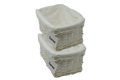 Wicker storage Basket Eco-Friendly White Small with Lining Pack of 2
