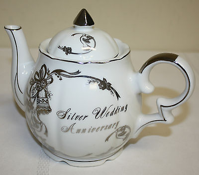 Vintage Lefton China Handpainted 25th Silver Anniversary Musical Teapot