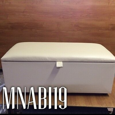 White 40 Inch Large Faux Leather Ottoman Storage Blanket Box Bedroom Wood Bed
