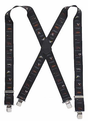 "Fly Fishing Suspenders 2"" Wide Heavy Duty Clips Famous Flies Work Play 2 Sizes"