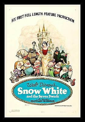 SNOW WHITE AND THE 7 SEVEN DWARFS ✯ 1937 CineMasterpieces MOVIE POSTER DISNEY