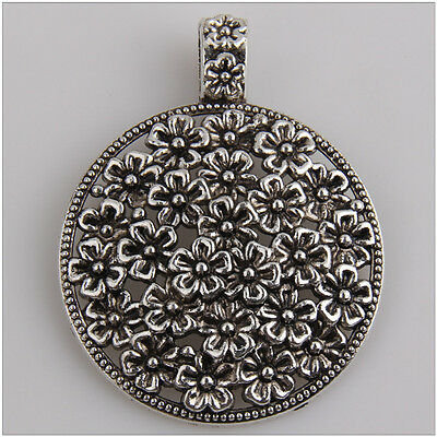 4Pcs Lot of Flower Big Round Pendants Tibetan Silver Jewelry Making EIF0413