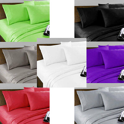 Soft Microfibre Fitted Sheet Set - Single King Single Double Queen and King Size