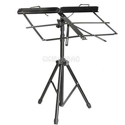 New PRO Folding Adjustable Music Sheet Stand Holder Black Portable STAND + Bag