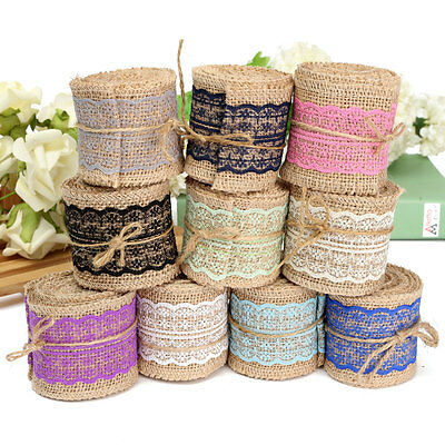2M Lace Ribbon Natural Jute Burlap Hessian Roll Trims Tape Rustic Wedding Craft