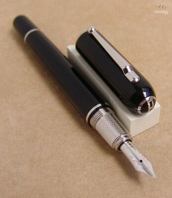 Dunhill Sidecar Mini Black With Palladium Plated Finish Fountain Pen Gorgeous !!