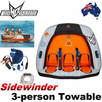 HO Sports Sidewinder 3-person Towable Float Water Tube Boat w/ 12V Pump Tow Rope