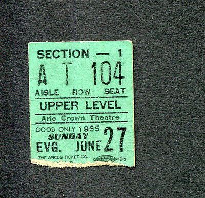 1965 Dave Clark Five concert ticket stub DC5 Chicago Arie Crown Glad All Over