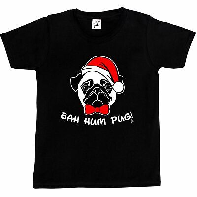 Bah Hum Pug Scrooge Grinch Christmas  Kids Boys / Girls T-Shirt
