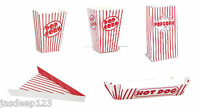 Retro Food Party Containers Red Striped Coloured (Pizza/Hot Dog/Popcorn Boxes)