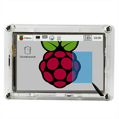 "3.5"" LCD Touch Screen Display + Clear Case for Raspberry Pi 2 3 model B New"