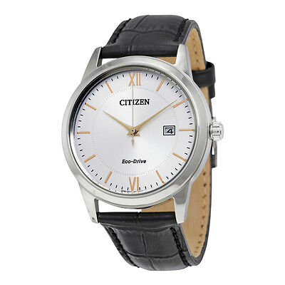 Citizen Eco-Drive Silver Dial Black Leather Mens Watch AW1236-03A