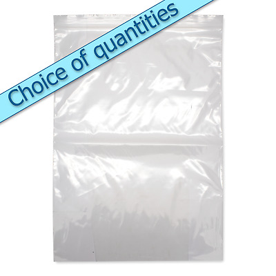 "Large clear grip seal zip lock heavy duty self seal bags 10"" x 14"" Suregrip GL14"