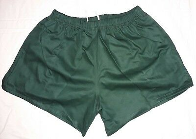 "Traditional Quality 100% Cotton Rugby Sports Shorts Bottle Green 26""-48"" New"
