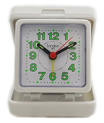 London 1872 Folding Travel Alarm Clock White Box Easy Read Glow Up Number Dial
