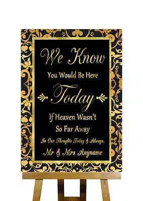 Black And Gold Loved Ones In Heaven Personalised Wedding Sign