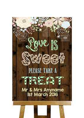 Rustic Wood Effect Love Is Sweet Candy Buffet Personalised Wedding Sign