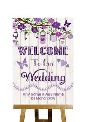 Vintage Wood Effect Welcome To Our Wedding Personalised Wedding Sign