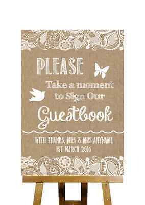 Burlap & Lace Effect Sign Our Guestbook Personalised Wedding Sign