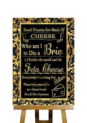 Black And Gold Funny Song Cheese Board Personalised Wedding Sign
