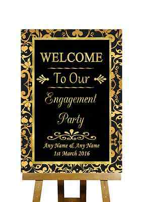 Black And Gold Welcome Engagement Party Personalised Wedding Sign