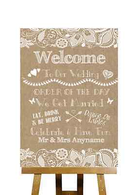 Burlap & Lace Effect Order Of The Day Personalised Wedding Sign
