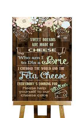 Rustic Wood Effect Funny Song Cheese Cake Personalised Wedding Sign