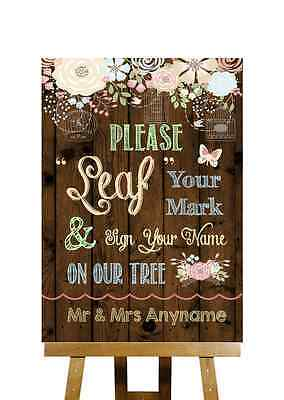 Rustic Wood Effect Guestbook Tree Message Personalised Wedding Sign