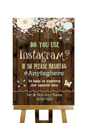 Rustic Wood Effect Photos On Instagram Personalised Wedding Sign