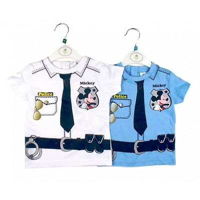 """New Boys  Disney Mickey Mouse """"police Man"""" T Shirts -  Ages 6-23 Months"""