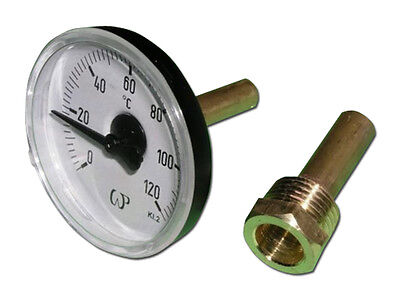 "Bimetall Thermometer 1/2"" Ø63 mm 0-120 °C mit Tauchhülse"