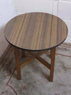 1970,s VINTAGE RETRO MELAMINE / FORMICA CIRCULAR COFFEE TABLE With an OAK BASE