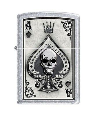 Zippo 4858 Ace of Spades Skull Satin Chrome Finish Lighter