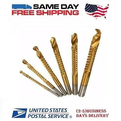 (6) Side Cutting Saw Cut Drill Bits  - Wood  Medal Plastic