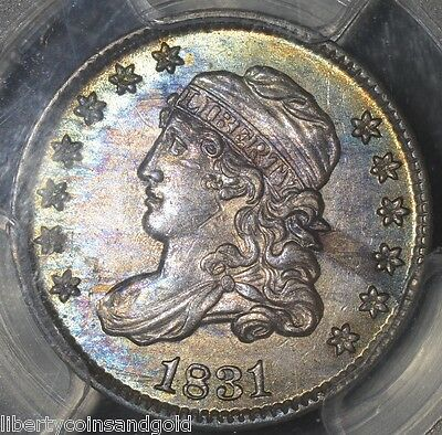 1831 PCGS MS 62 Capped Bust Silver Half Dime 5c Amazing color!