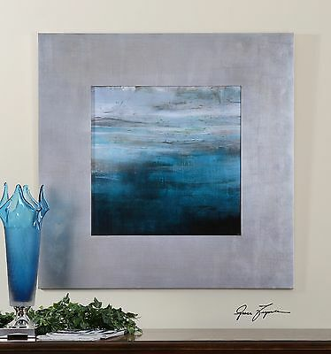"Rich 40"" Soothing Modern Print Picture Wall Art Accented By 8"" Wide Flat Frame"